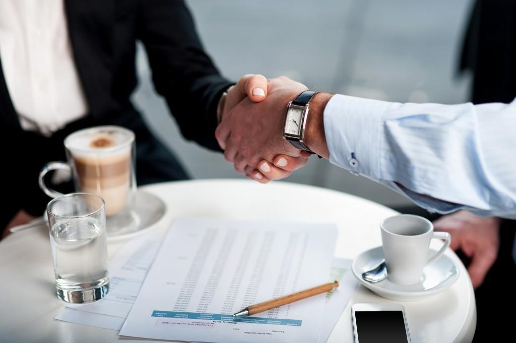 Businessman and client handshake