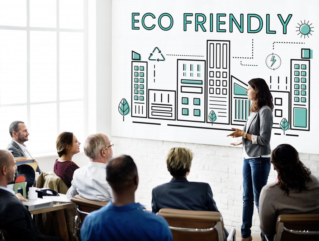 Giving a talk in the office about being eco friendly