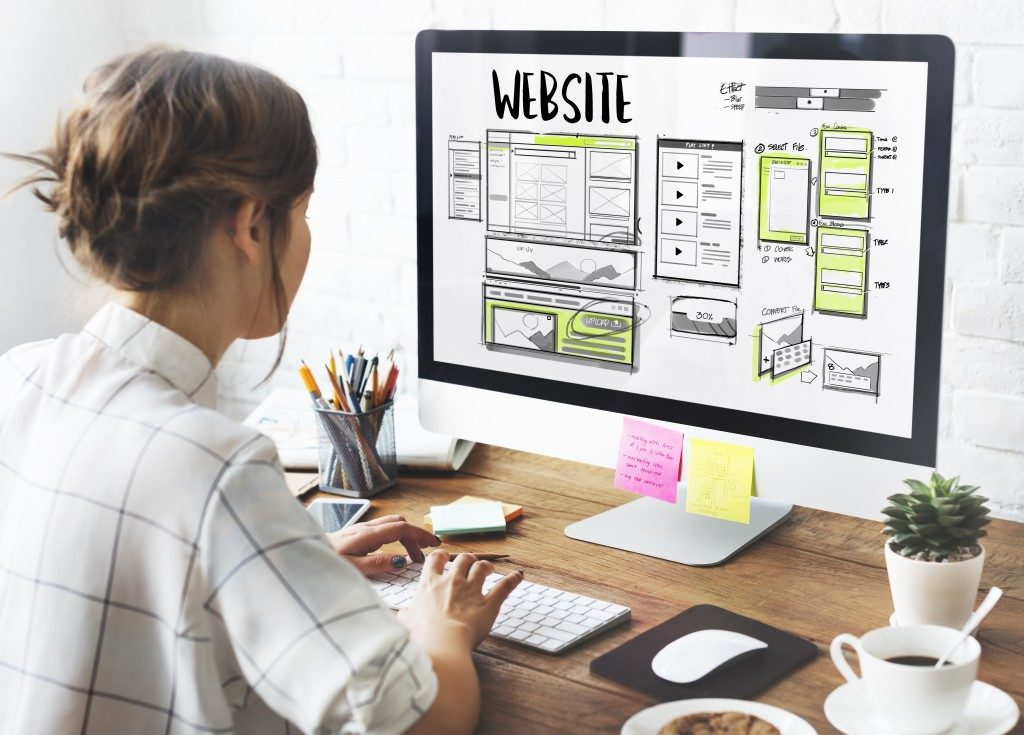 woman designing a website