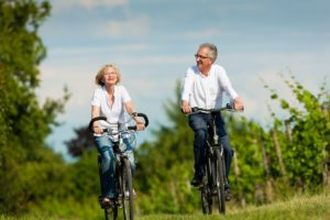 old couple biking