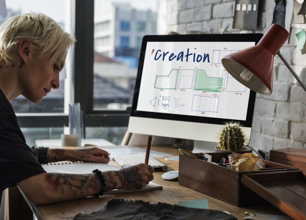 Artist creating a design