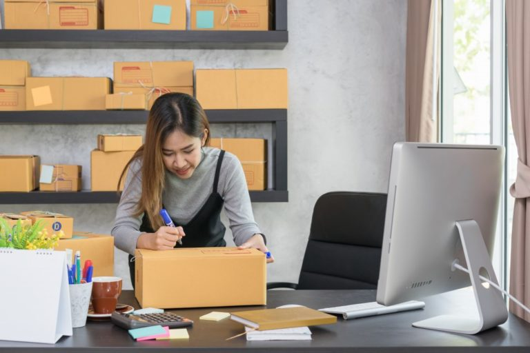 woman packing orders