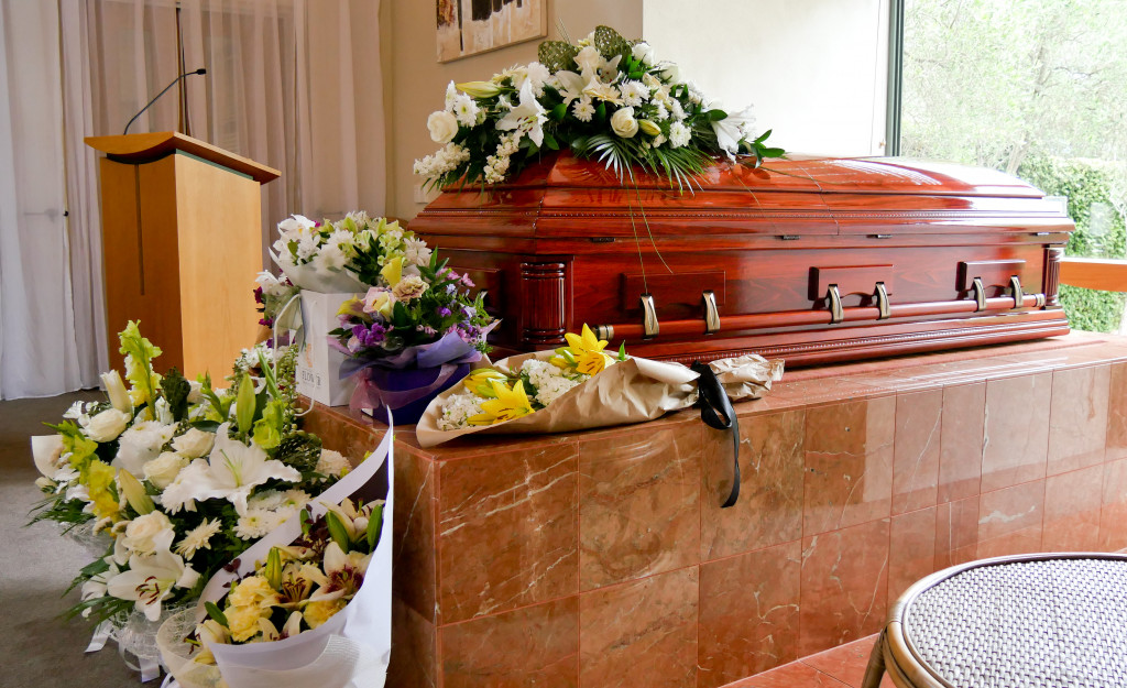 casket with flowers