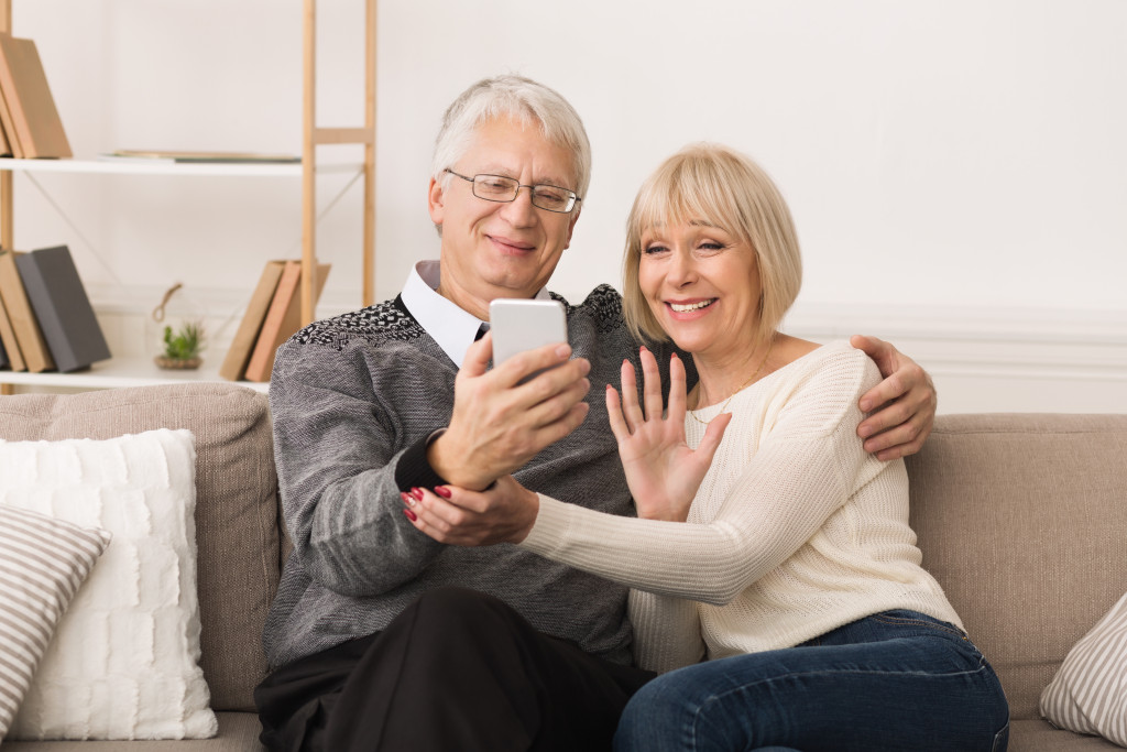 seniors using phone