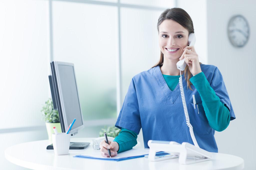 nurse getting a call